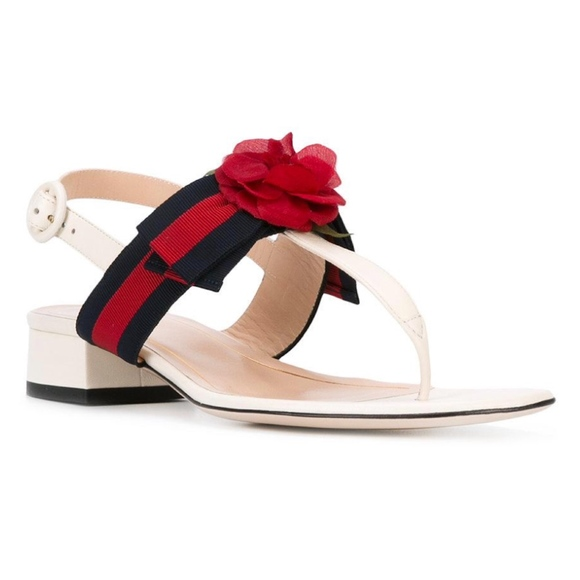 2e03d0d683ad New Gucci Floral Web Ribbon Bow Sandals White 38